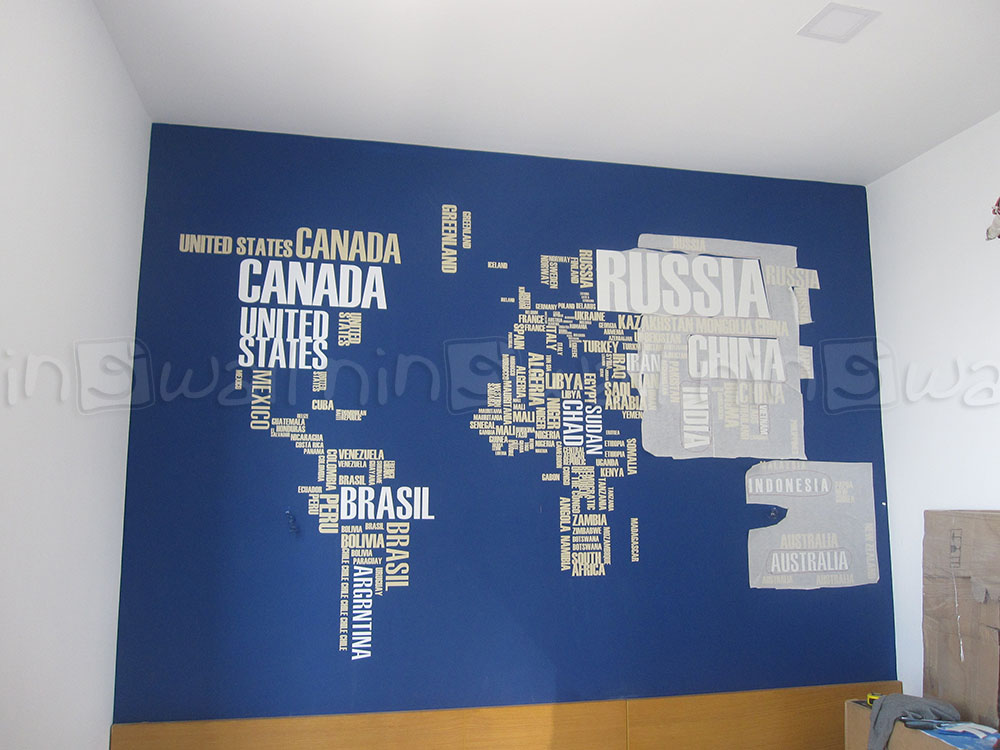 Bản đồ thế giới ấn tượng nhà chị Ly