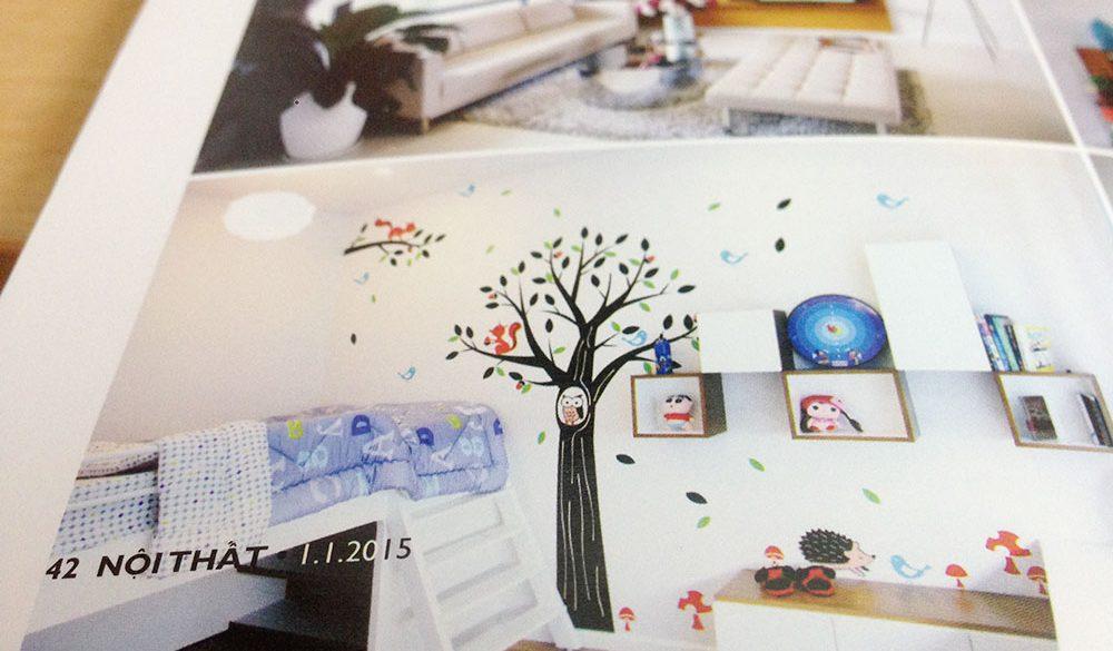 Căn hộ mẫu Phố Đông Village với decal NINEWall trên báo nội thất