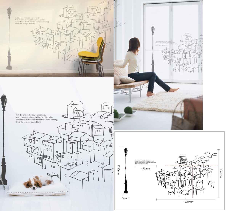 Mẫu decal dán tường sáng tạo giúp trang trí nhà nhanh gọn