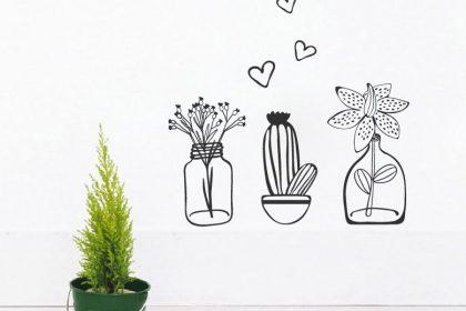 decal chậu cây chậu hoa