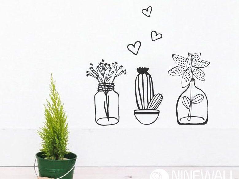 Siêu dễ thương cho tường nhà với decal chậu cây – chậu hoa
