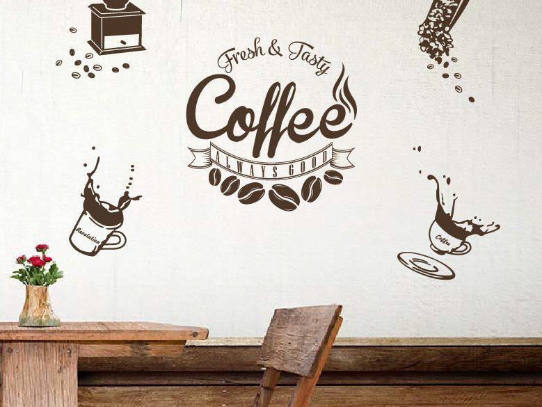 Decal dán tường cafe nghệ thuật và cá tính