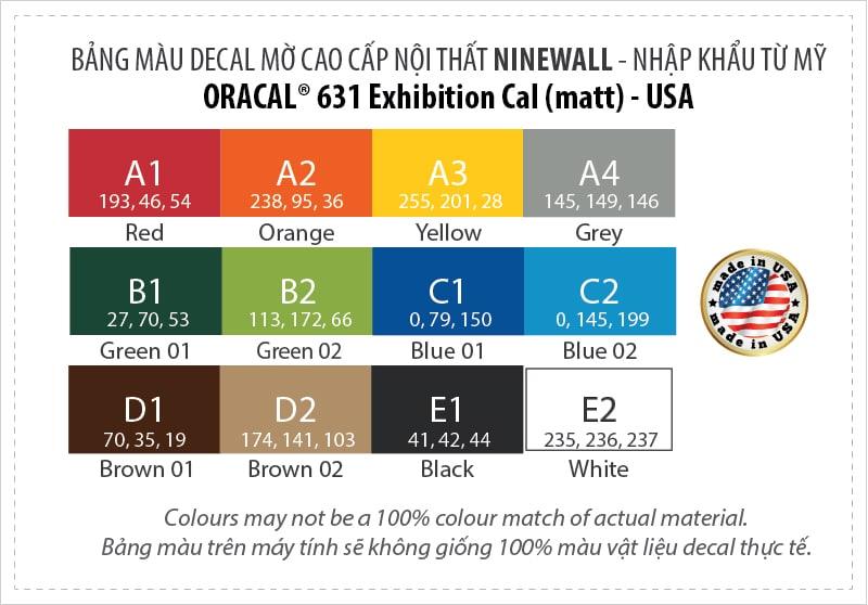 Bảng màu decal oracal 631